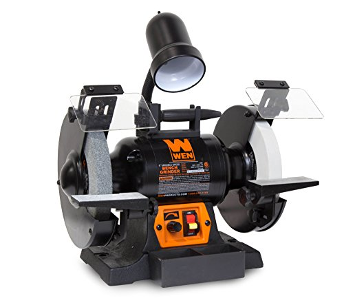 """WEN 4280 5 Amp 8"""" Variable Speed Bench Grinder with Work Light"""