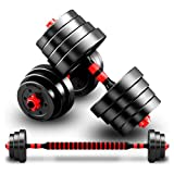 T&R sports Adjustable Rubber Dumbbell Set Barbell Home Gym Exercise Weights Fitness 40kg
