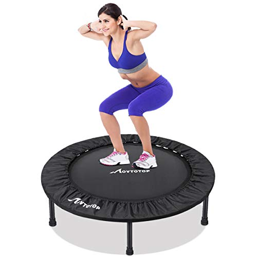 MOVTOTOP Mini Trampoline 38 Inch, Folding Indoor Trampolines with Safety Pad, Fun Mini Fitness Rebounder Trampoline for Kids Adults Indoor/Garden Workout Max 220lbs (Black)
