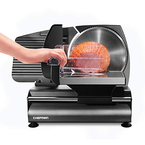 Chefman Die-Cast Electric Deli/Food Slicer Precisely Cuts Meat Cheese, Bread, Fruit & Veggies, Adjustable Thickness Dial, Removable 7.5 Serrated Stainless Steel Blade, Non-Slip Feet, Compact, Black