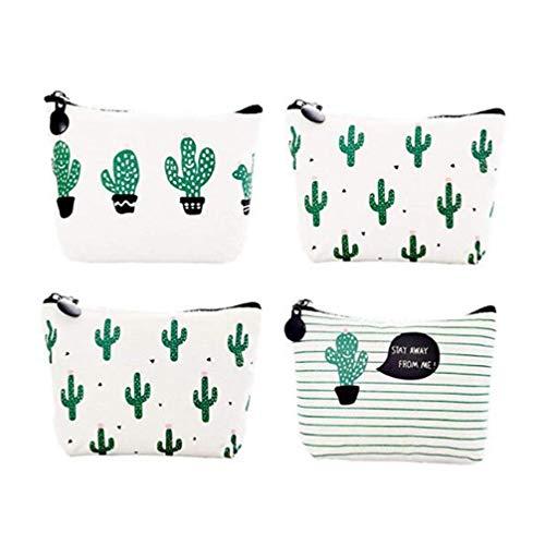 Toyvian 4 Pezzi di Tela di Cactus Modello Portamonete Borse Durevoli per Piccoli Cambi Borsa Portachiavi per Studenti Borse a Matita Mini Portafoglio