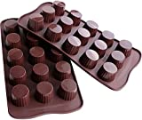 Webake Candy Molds Silicone Chocolate Molds, Baking Mold for Jello, Keto Fat Bombs and Peanut Butter Cup, Pack of 2