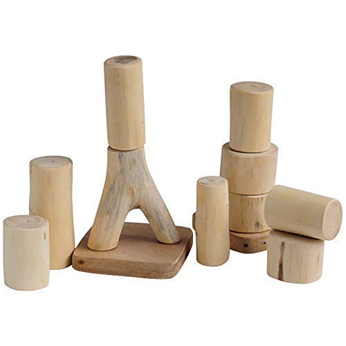 Constructive Playthings 12 pc. Baby Tree Blocks Set of Large, Easy to Handle Pieces for All Ages