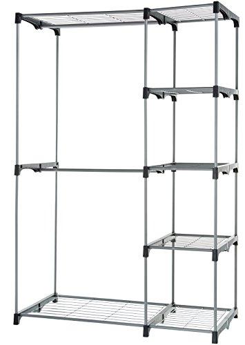 AmazonBasics - Guardaroba a rastrelliera con 2 aste, nessun fissaggio a parete, Argento