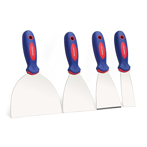 WORKPRO 4-Piece Putty Knife Set, Stainless Steel Made - Perfect for Drywall Spackle, Taping, Scraping Paint, 1.5', 3', 4', 6'