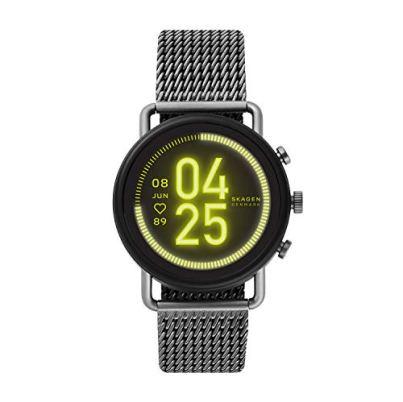 Skagen Connected Falster 3 Gen 5 Stainless Steel Mesh Touchscreen Smartwatch, Color: Gunmetal (Model: SKT5200)