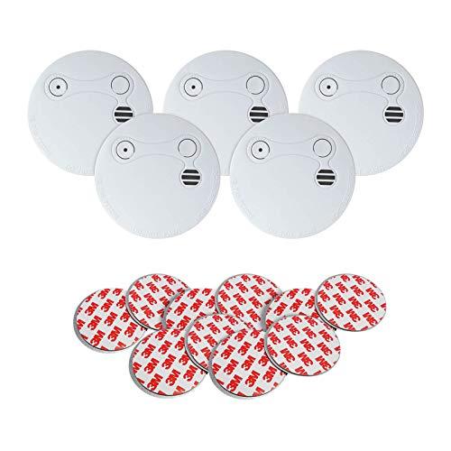 Xeltys | Set van 5 rookmelders met zelfklevende montage | 9V | 5-jarige batterij | Branddetector | Magneet