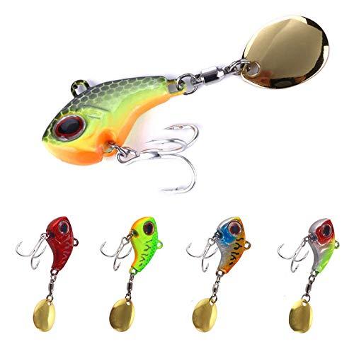 JOLIGAEA 5 Pezzi Esca da Pesca con Coda Rotante, 16g Artificial Bait, Esche Artificiali Spinning Trota, Spinning Esca, per Pesca in Acqua, Trota, Pesce Persico, Esche Luccio