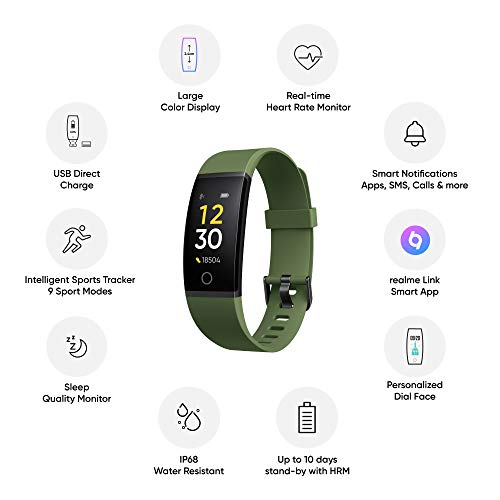 Realme Band (Green) - Full Colour Screen with Touchkey, Real-time Heart Rate Monitor, in-Built USB Charging, IP68 Water Resistant 6