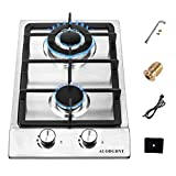 Gas Stove Gas Cooktop 2 Burners,12 Inches Portable Stainless Steel...