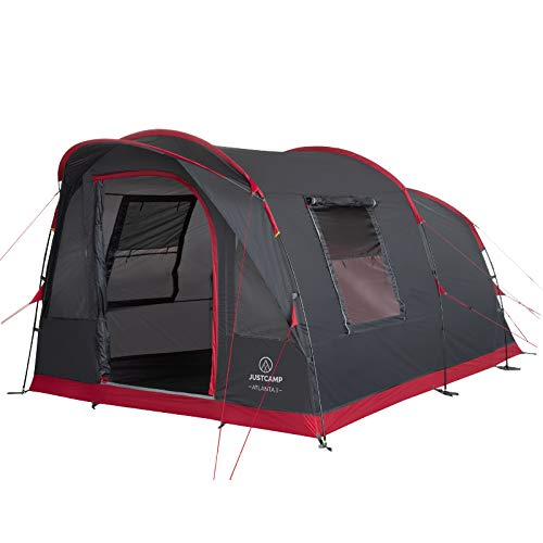 Justcamp Atlanta 3 tente familiale, tente tunnel pour 3 personnes, séjour debout, sol cousu intégré – gris