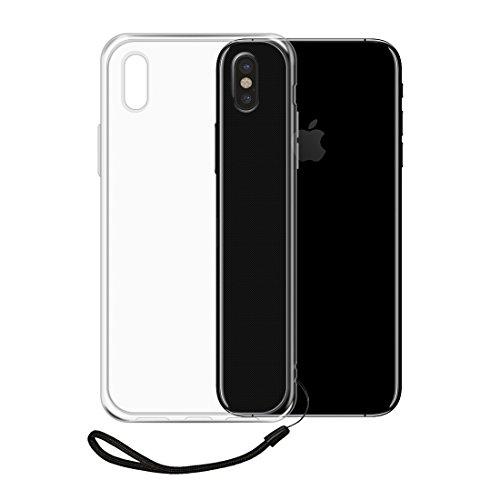 iPhone X ケース TopACE クリア スリム iPhone X TPU カバー iPhoneX ケース 落下 衝撃 吸収 擦り傷防止 ストラップ付 アイフォン X 用 カバー (iPhone X,クリア)
