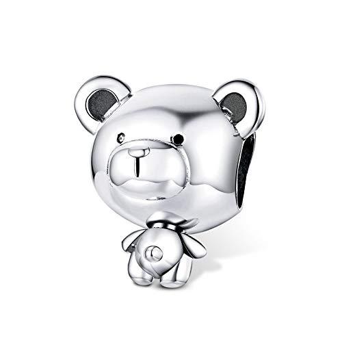 Abalorio de plata de ley con diseño de oso para pulsera Pan