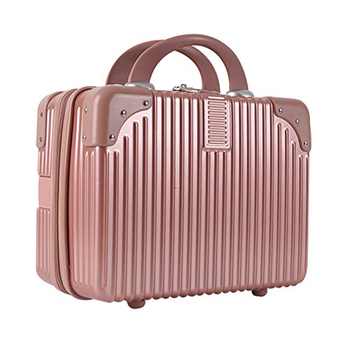 Lzttyee Mini Hard Shell Cosmetic Case Portable Polychrome Travel Luggage, 14inch Suitcase Carrying Case Suitcase for Makeup (Rose gold)