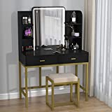 CABINAHOME Vanity Set with Lighted Mirror, Makeup Vanity Dressing Table with LED Lights, Storage Shelves, Cushioned Stool & 2 Drawers, Dresser Desk for Bedroom, Black