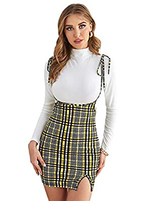 Fabric has slight stretch Feature: plaid overall dress, cami dress, sleeveless, tie shoulder, split, slim fit, bodycon, mini / short dress Occasion: Suitable for casual, dating, daily, party, street Model: Height: 69.3 inch, Bust: 33.1 inch, Waist: 2...