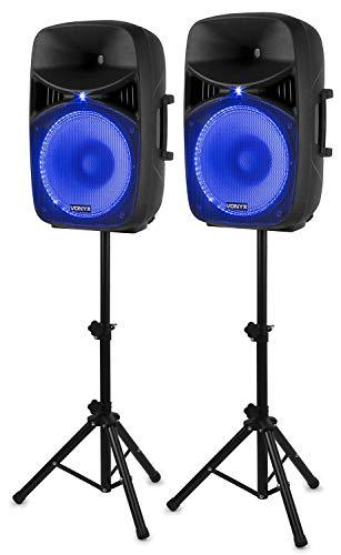 Vonyx VPS152A Set di Altoparlanti Attivi 1000 W 15' (38 cm) Porta USB/SD MP3 BT