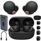 Sony WF-1000XM4 Industry Leading Noise Canceling Truly Wireless Earbud Headphones with Alexa Built-in, Black WF1000XM4/B with Charging Case Bundle with Deco Gear Wireless Charger Pad Power Bank