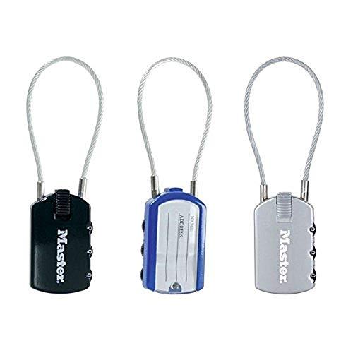 Master Lock 4684EURD Lucchetto Porta-Indirizzo, Combinazione Programmabile a 3 Cifre, Colori...