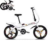 TOUNTLETS Adults Folding Bike, 20 Inch White Bikes Cycling, Cruiser Bikes Small Bicycle Unisex Ladies Students Ultra Light Portable Women's City Riding Men Mountain Bicycles for Travel Go Working