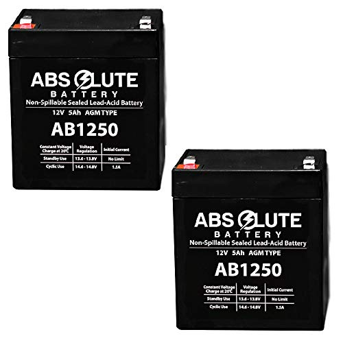 2PK New AB1250 12V 5Ah Scooter Battery Replaces 4.5Ah Enduring 6FM4.5, 6 FM 4.5