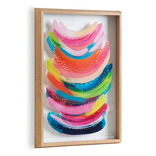 Kate and Laurel Blake Bright Abstract Framed Printed Glass...