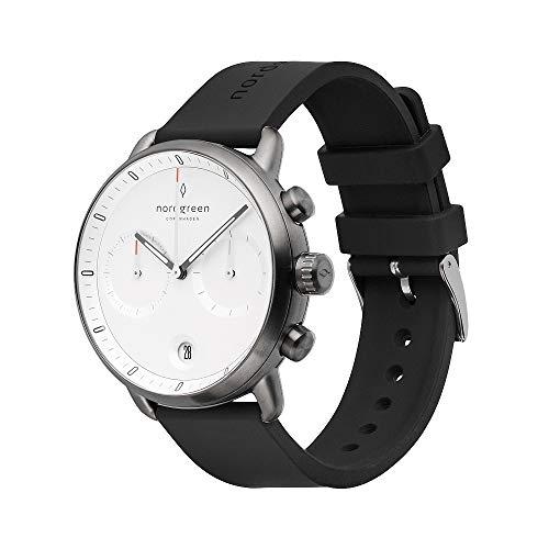 Nordgreen Pioneer skandinavische Herrenuhr in Anthrazit mit Weißem Ziffernblatt und austauschbarem 42mm Silikon Armband Schwarz 14018