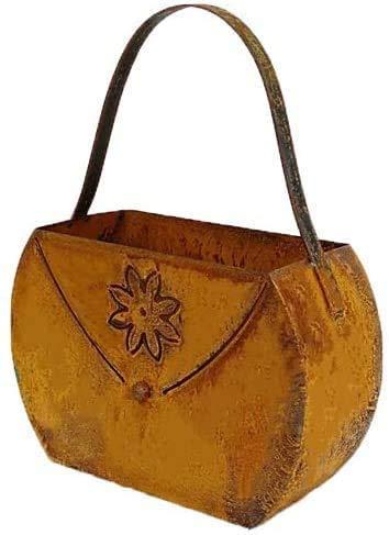 Bornhöft Tasche mit Blüte zum Bepflanzen Windlicht Beetdeko Metall Rost Gartendeko Edelrost rostige Deko für den Garten 17cm x 22cm