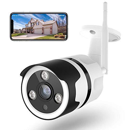 Netvue Telecamera Wifi Esterno, Full HD 1080P Videocamera Sorveglianza Wifi con Rilevamento di Umano Movimento, Visione Notturno, Audio Bidirezionale, Telecamera di Sicurezza Funziona con Alexa