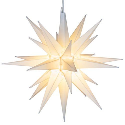 Elf Logic - 21' Large White Moravian Star - Hanging Outdoor Christmas Star Light - Use as Holiday Decoration, Porch Light, 3D Fixture, Advent Star (21 Inch Assembly Required) (LED)
