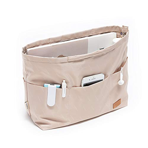 iN. Purse Organizer Insert with zipper, Nylon fabric Storage Bag with handles, for womens Handbags & Tote bags, neverfull, lightweight medium sized Beige
