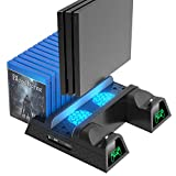 OIVO PS4/ Slim/Pro Cooling Vertical Stand, Upgraded LED Cooling Fan and Controller Charging Dock Game Storage