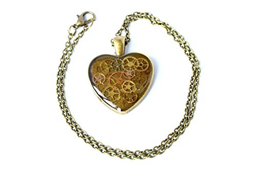 Steampunk Heart Pendant, Large Heart Necklace, Steampunk Necklace, Watch Parts Necklace, Clock Necklace, Watch Movement Necklace