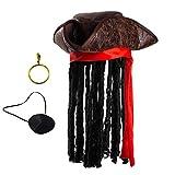 Pirate Hat with Dreadlocks - Tricorn Pirate Hat - Caribbean Pirate Hat - Pirate Costume Accessories (3 Pc Set) Tigerdoe