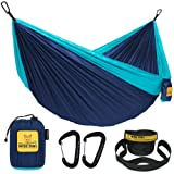 Wise Owl Outfitters Camping Hammocks - Portable Hammock Single or Double Hammock for Outdoor, Indoor w/ Tree Straps - Backpacking, Travel, and Camping Gear, Navy & Lt Blue (Single)