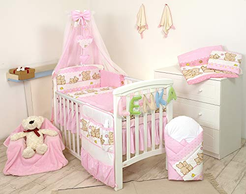 PRO COSMO 11 Piezas juego de ropa de cama para cuna de bebé cama edredón, dosel + soporte (120x60cm, 7 Osos Rosas)