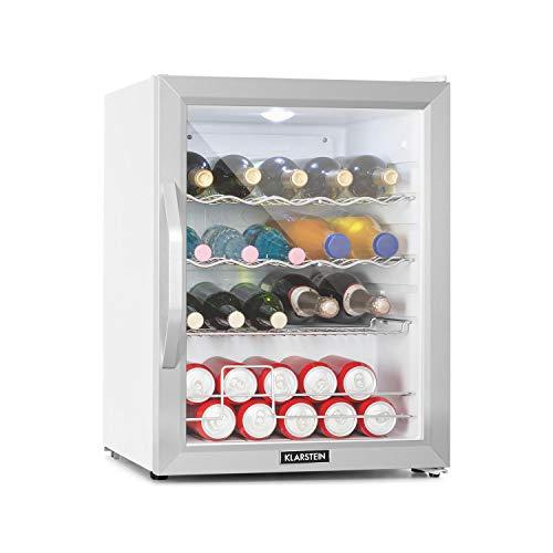 Klarstein Beersafe Crystal White - Frigorifero, Mini Frigo, Minibar, Porta in Vetro, 42 dB, LED, Ripiani, Struttura in...