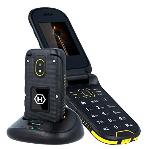 Hammer Bow + IP68 2.4 '' & 1.44 '' Deux écrans, téléphone à rabat extérieur avec station de charge, 3G, 1200mAh, étanche, antipoussière, robuste téléphone portable pliable sans contrat, noir