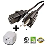 Huetron 25ft Power Cord for BenQ MP772 ST DLP Projector + 3 Way Cube Tap