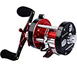 Sougayilang Fishing reels Round Baitcasting Reel - Conventional Reel - Reinforced Metal Body and Supreme Star Drag-Right Hand-Red-Black-Warrior 6000