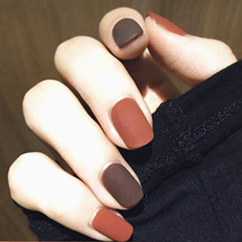Yalice Matte Fake Nails Short Square False Nails Orange and Brown Full Cover Nails Halloween Press on Nail for Women and Girls 24Pcs