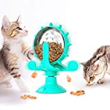 CHUZI Cats Interactive Catnip Toys Treat Dispenser Toy Windmill Puzzle Suction Cup for Cat Exercise Wheel Treadmill Cat Toys for Indoor(Blue)