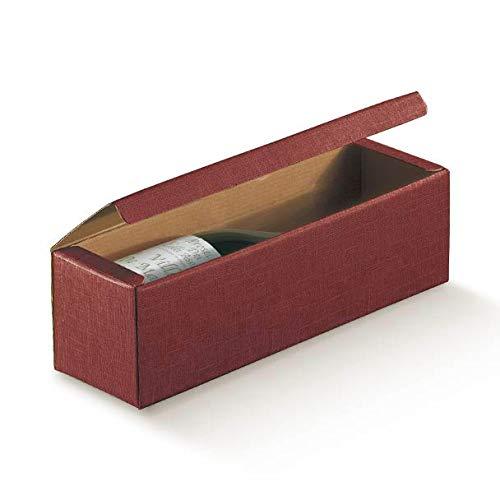 5 scatole a cantinetta per 1 bottiglia distesa di vino modello bordolese, borgognotta o enogastronomia robuste strenne natalizie cartone accoppiato cm.34 x 9 x 9 cantina 1 bordeaux