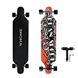 WHOME PRO Longboard Complete for Adults and Beginners - 41 Inch Longboard Hybrid Freestyle Carving Cruising 8 Layer Alpine Hard Rock Maple Deck Top Mounted ABEC-9 Precision Bearings Includes T-Tools