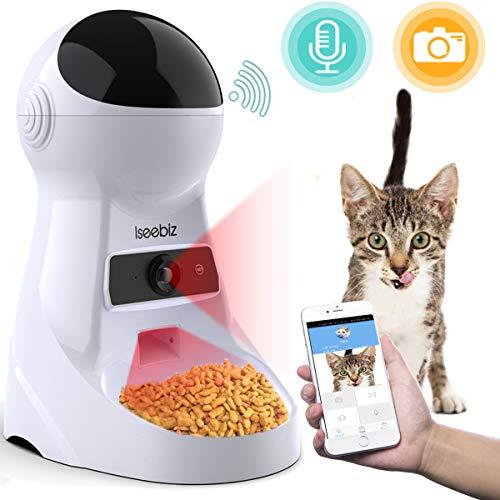 自動給餌器 猫 犬用 Iseebiz スマホで遠隔操作 カメラ付きペット自動餌やり機 3.5L容量 1日6食まで タイマ...