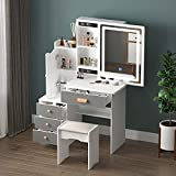 FAMAPY Vanity Set Makeup Vanity with Sliding Lighted Mirror & 4 Drawers, Wood Makeup Dressing Table with Hidden Shelves & Cushioned Stool, Makeup Desk White