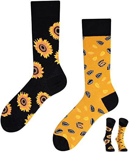 TODO COLOURS Calzini fantasia - Sunflowers - Calze divertenti - girasoli, semi, fiori, estate (39-42, Sunflowers)