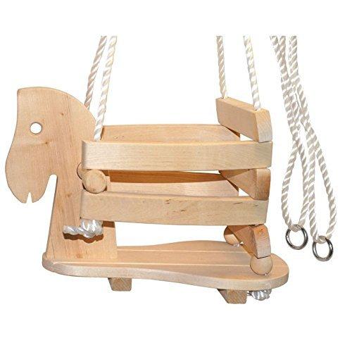 """small foot 7190 Babyschaukel \""""Pferd\"""" aus Holz, stabil und sicher aufgrund einer erhöhten Umrandung, ab 1,5 Jahren"""