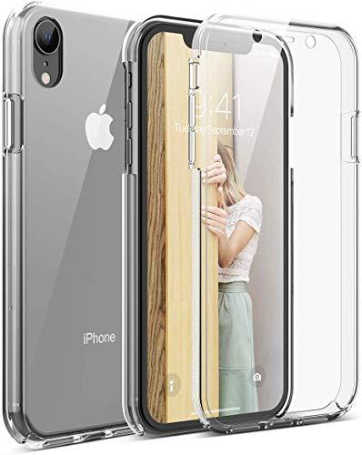 Mkej Cover Protezione Totale 360 Gradi Custodia Trasparente Compatibile con iPhone XR, Full Body Anteriore Sottile TPU + Difficile PC Posteriore Case per iPhone XR