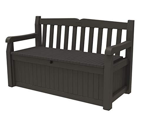 Keter Solana 70 Gallon Storage Bench Deck Box for Patio Furniture,...